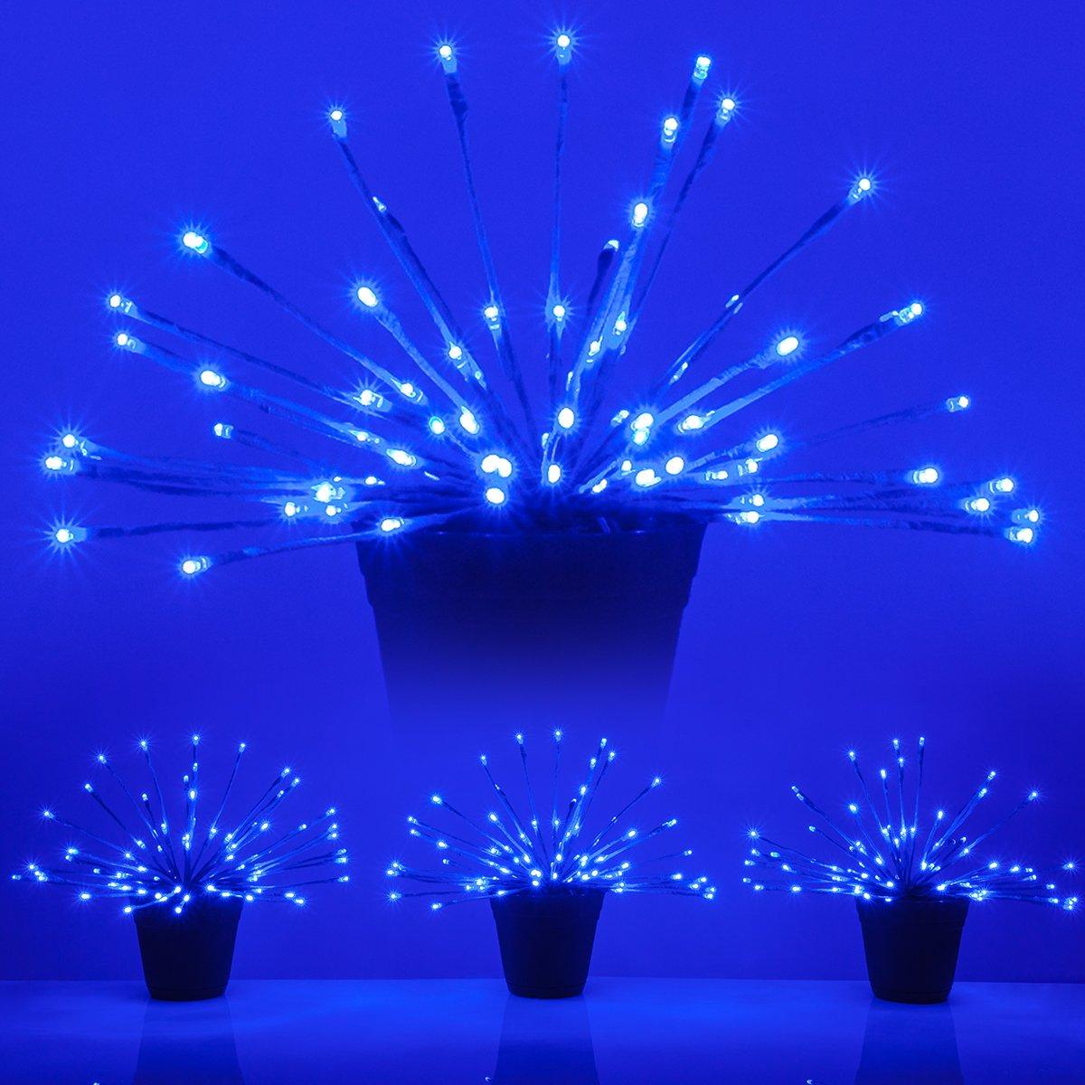 LED Starburst 5mm Light Balls - Fairy Lights - Lighted Branches (15'', Blue Branches/Blue Twinkle Lights, Set of 3)