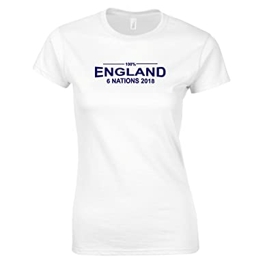 9d7786eaad2 100% England Rugby Six Nations 2018 T-Shirt Ladies White: Amazon.co.uk:  Clothing