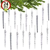 """LimBridge 24 Pack 5"""" Chrismtas Tree Hanging Icicles Shatterproof Ornament Decoration Set, Clear x 8, Silver Glitter x 8, Iridescent x 8"""