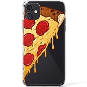 Mertak Clear Case Compatible with iPhone 12 Pro Max Mini 11 SE 10 Xr Xs 8 Plus 7 6s 5s Lightweight Pizza Silicone Food TPU Cool Protective Slice Design Pepperoni Flexible Slim Cute Cover Print