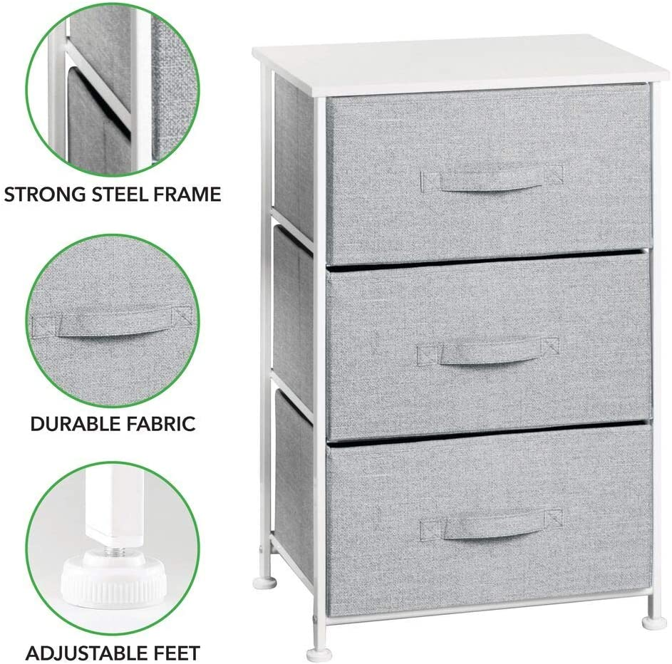Sturdy Steel Frame Textured Print Wood Top mDesign Vertical Dresser Storage Tower Easy Pull Fabric Bins 3 Drawers Organizer Unit for Child//Kids Bedroom or Nursery Gray//White MetroDecor 7694MDB