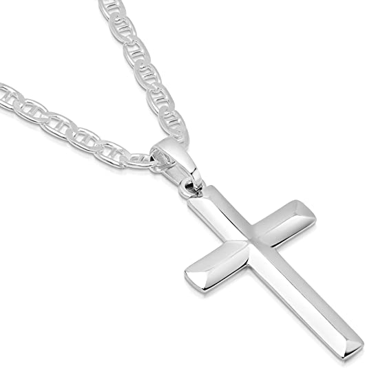 """FREE SHIPPING Details about  /STERLING SILVER 925 CROSS PENDANT NECKLACE 8"""" Mother of Pearl"""