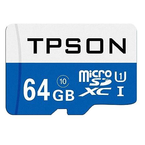 TPSON Tarjeta de Memoria microSDXC DE 64 GB UHS-1 Clase 10 con Adaptador SD (64 GB, Azul)