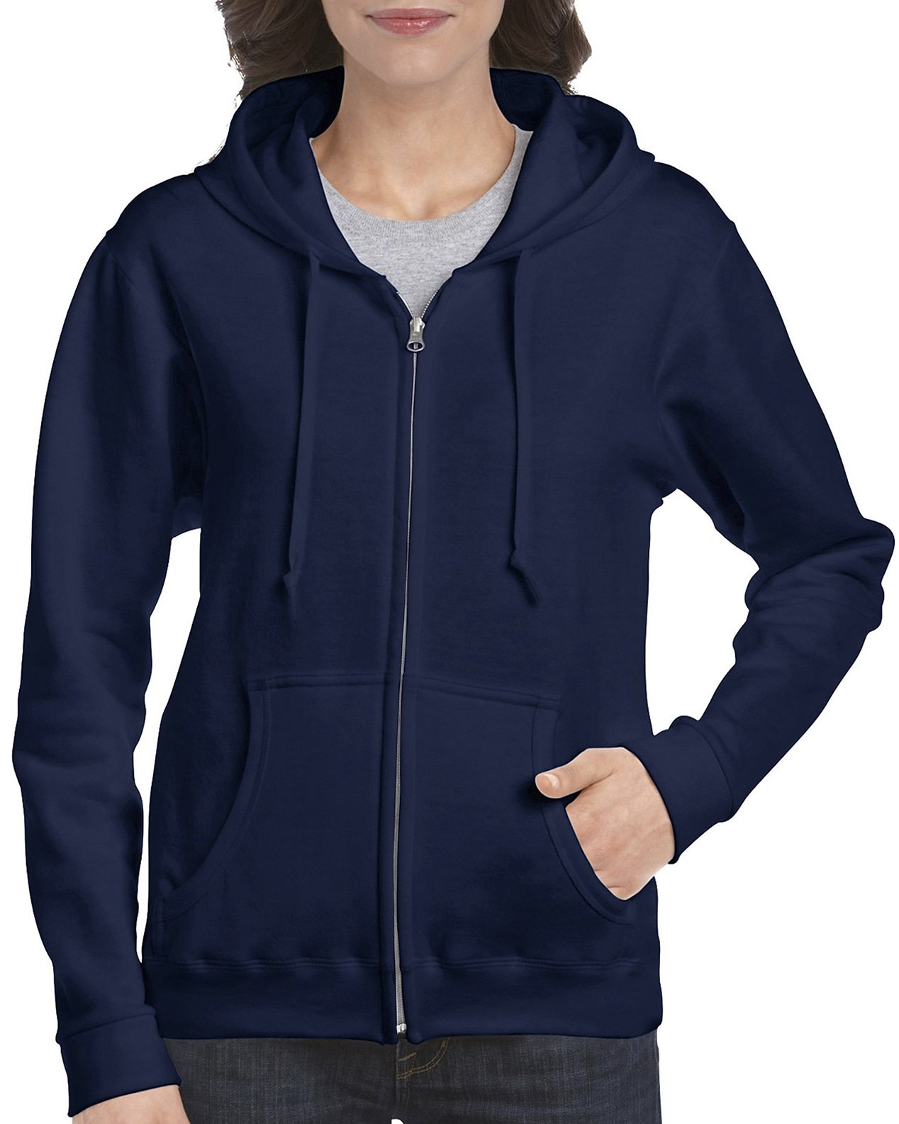 Gildan Women's Full Zip Hooded Sweatshirt, Navy, Small