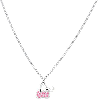 925 Sterling Silver CZ Cubic Zirconia Cute Elephant High Polished Pendant Necklace 18