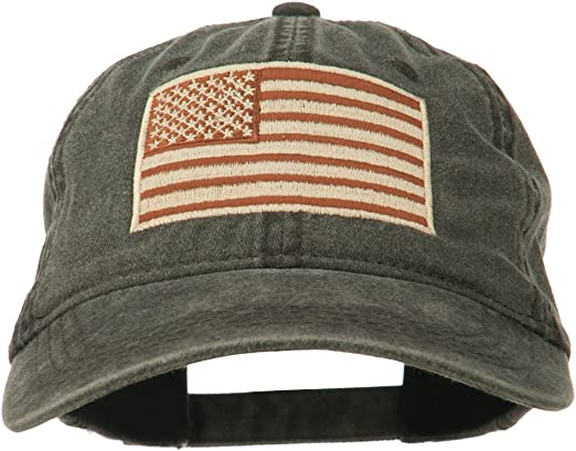 USA American Flag Cap US Military Unconstructed Dad Hat Adjustable OSFM Black