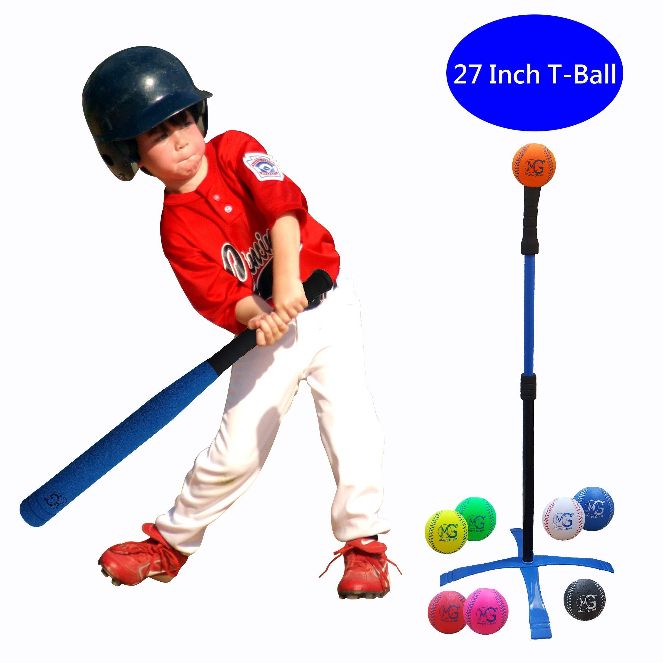 Macro Giant 27 Inch Safe T Ball, Tee Ball, T-Ball, 1 Blue Foam Bat & 8 Foam Baseballs, Training, Practice, Youth Batting Trainer Beginner, School Playground, Kid Gift, Birthday Gift by MG MACRO GIANT