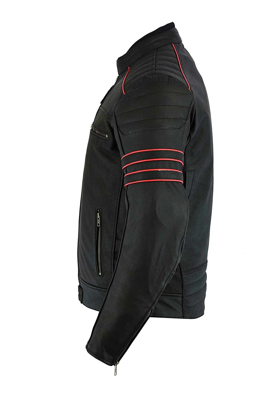 LeatherTeknik Chaqueta de piel para hombre DC-4044 dise/ño de motocicleta