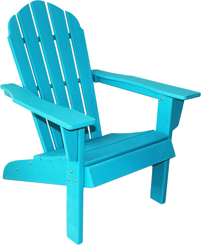 ResinTEAK HDPE Poly Lumber Adirondack Chair, Aqua Blue   Adult-Size, Weather Resistant for Patio Deck Garden, Backyard & Lawn Furniture   Easy Maintenance & Classic Adirondack Chair Design