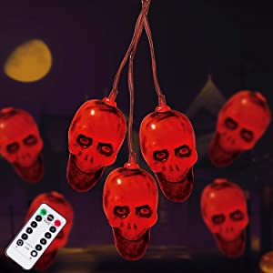 Halloween Decorations 30LEDs Spooky Lights, Halloween Skeleton Skull String Lights Battery Operated for Halloween Party, Haunted House Creating Horror Decoration (Red)