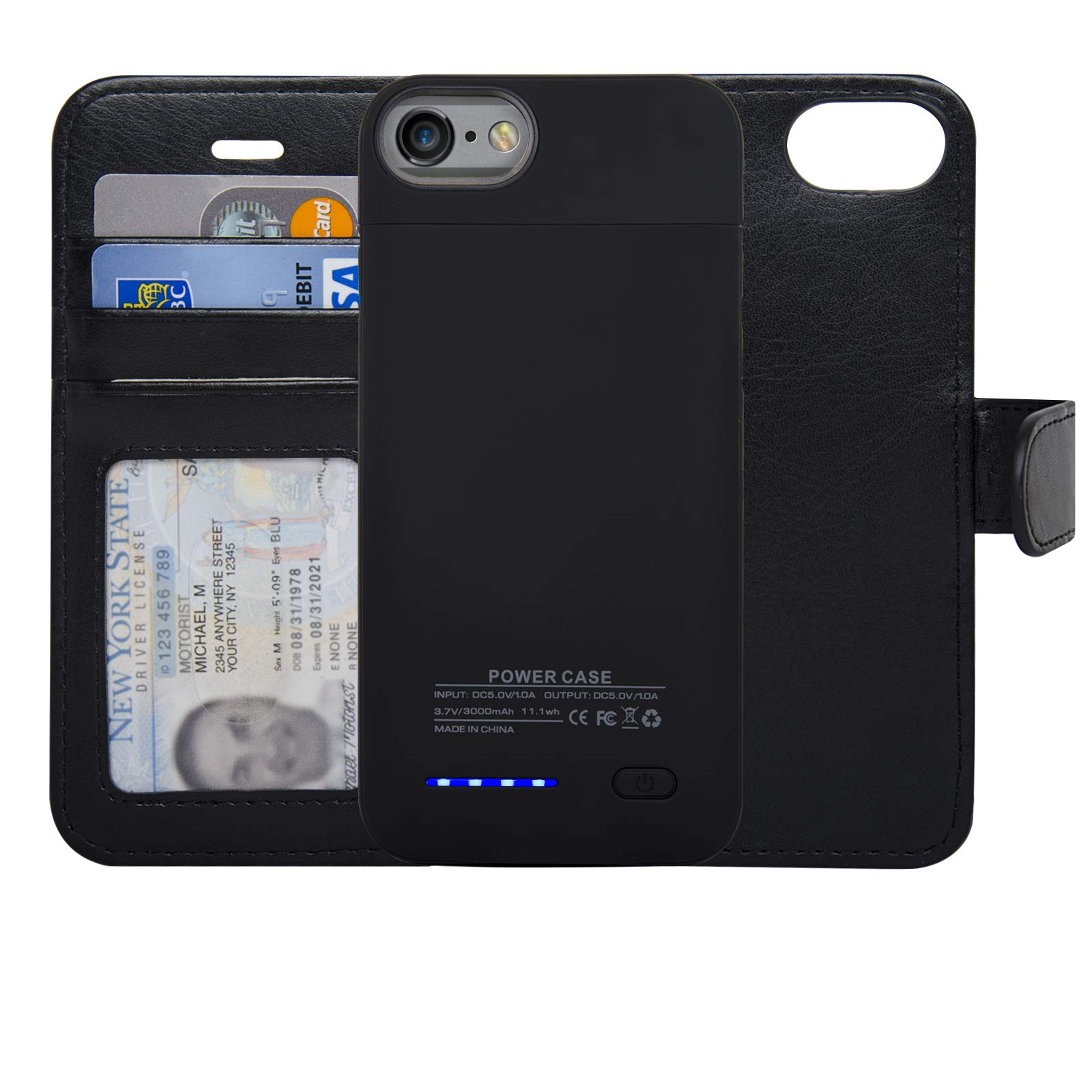 navor RFID Folio Wallet Magnetic Detachable Power Battery Case 3000mAh Compatible for iPhone 6/7 / 8 [4.7 Inch] - Black by navor