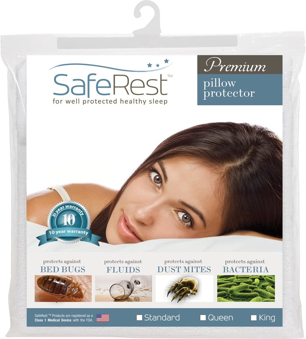 SafeRest Premium Hypoallergenic Bed Bug Proof Zippered Waterproof Pillow Protector (1) Standard Size: Kitchen & Dining