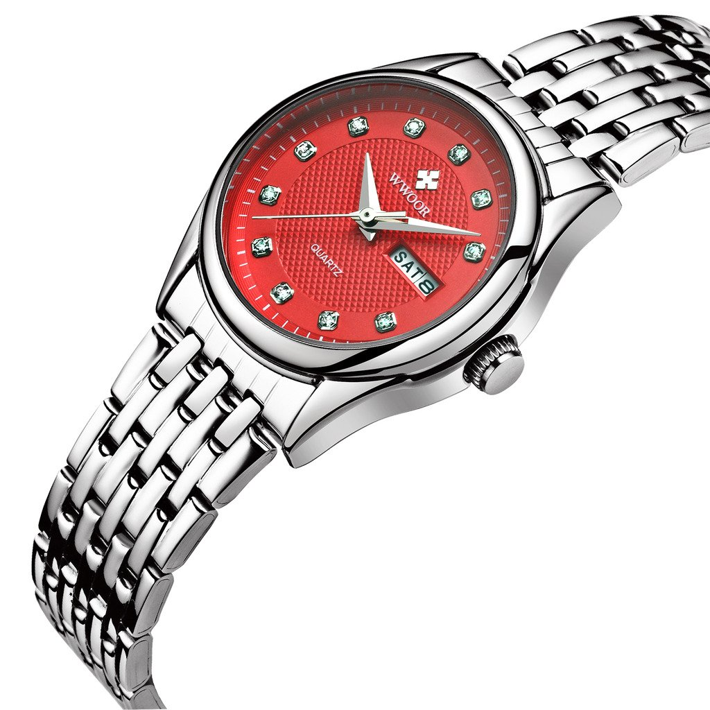 WWOOR Para las mujeres y señoras modernas y elegantes Ultra Plano Reloj analógico de Acero Inoxidable la correa ajustable de malla con Cristal Resistente a ...
