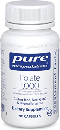 Pure Encapsulations Folate 1000   Hypoallergenic Supplement with Metafolin L-5-MTHF*   90 Capsules