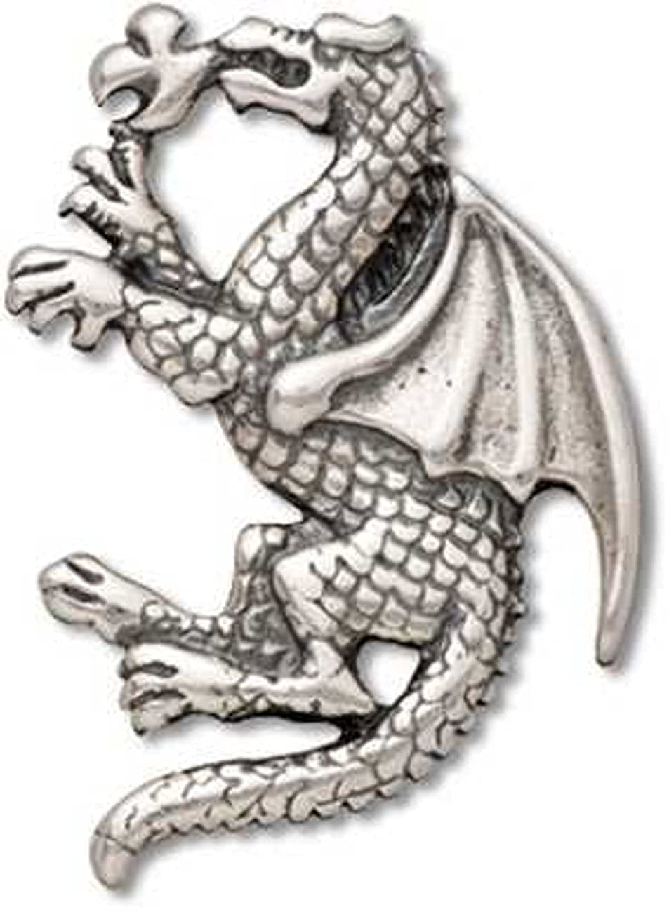 Sterling Silver Fantasy Fire Breathing Winged Dragon Dangle Charm Bead For Bead Charm Bracelet