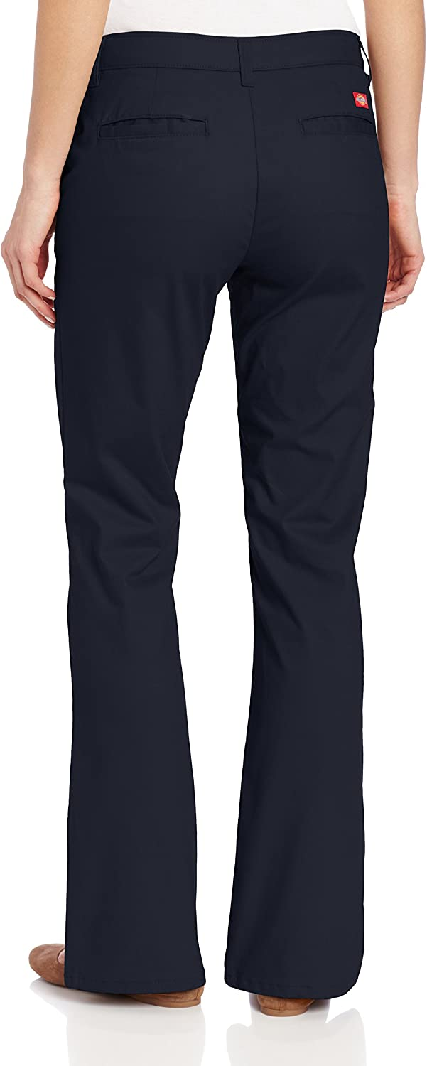 Dickies Women's Flat Front Stretch Twill Pant Slim Fit Bootcut, Dark Navy, 4 Small at  Women's Clothing store