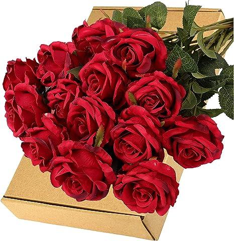 Artificial Flower Silk Rose Single Fake Floral Wedding Party Home Garden Decor