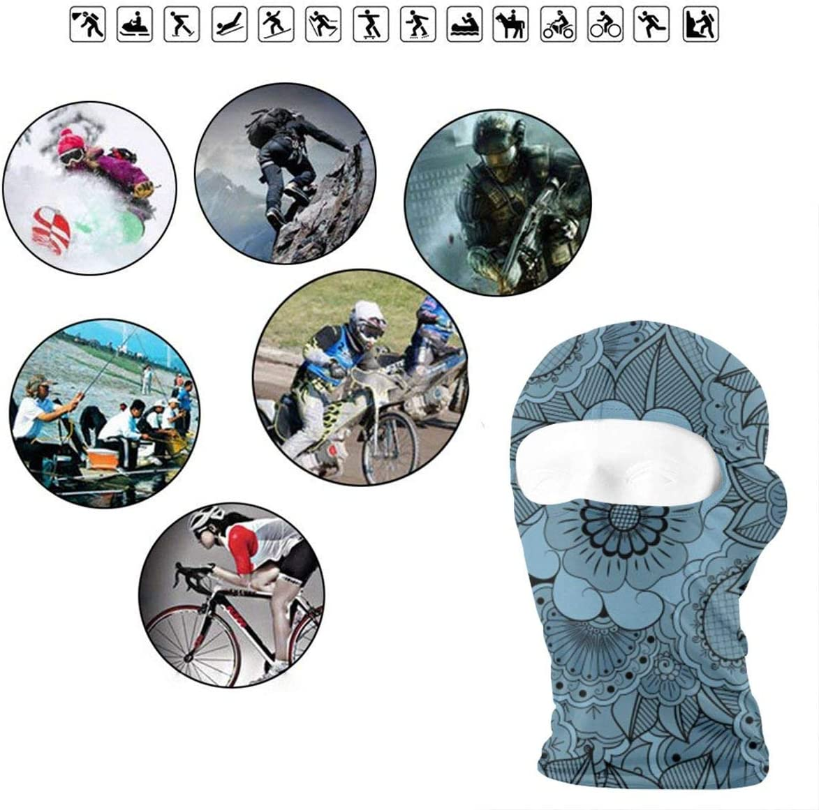 CAClifestyle Blue Flower Seamless Pattern Unisex Windproof Balaclavas Full Face Mask Hood