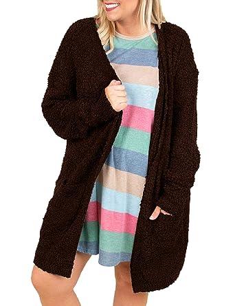 Womens Fuzzy Fleece Plus Size Cardigans Open Front Oversized Jackets Fluffy  Sweaters Outwear Coat Coffee ef2b3365d