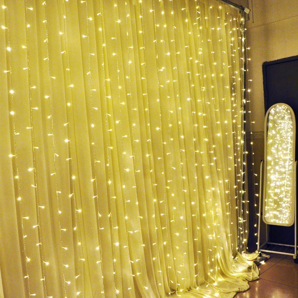 Amazon.com: ADDLON String lights Curtain, 300 LED Icicle Wall Lights ...