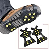 (2 Pieces) Leebei Non-slip shoe cover Ice Snow Grips Over Shoe Boot Traction Cleat Rubber Spikes Anti Slip Mountaineering Non-slip Shoe Cover 10-Stud Slip-on Stretch Footwear