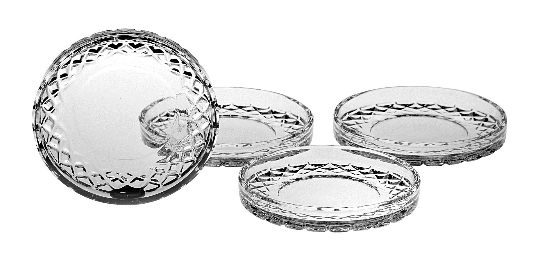 Barski European Crafted Cut Crystal Coasters, 4.25''Diameter, Superb Quality, Manufactured in Europe, Set of 4 by Barski