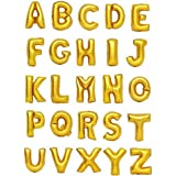 Zeato Single Alphabet Letter I Air Inflation Aluminum Foil Film Balloon [Non-Floatable] Celebration Party Multiple Occasions Home Decoration Supplies (Golden,16 inch)