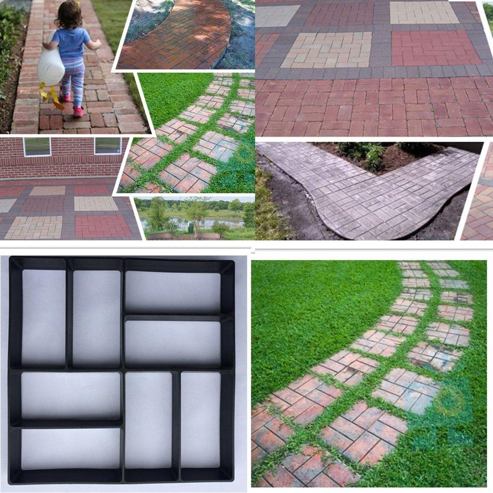 leoboone Fai-da-Te Modelli Irregolari//rettangolari Pavimenti Personalizzati Pavimenti in calcestruzzo Mattoni Decorativi in Pietra per Esterni Garden Path Maker Nero