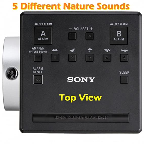 Sony Time Projection Dual Gradual Alarm Clock & Noise Maker Sound Machine with 5 Nature Sounds, USB input for Cell Phone Charging, Digital AM/FM Radio ...