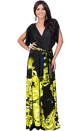 139fad0b7e5 KOH KOH Petite Womens Long V-Neck Short Sleeve Floral Print Elegant  Flattering Flowy Formal