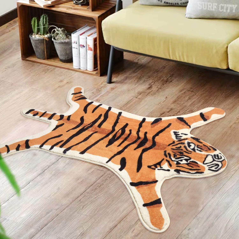 LIVEBOX Kids Play Rug, Tiger Area Rug 3x3.8ft Personalized Bath Rug Soft Plush Non-Slip Childrens Carpet Throw Rug for Living Room Bathroom Playroom Nursery Decor Best Shower Gift (Orange)