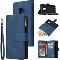 Jorisa Wallet Case Compatible with Samsung Galaxy S9,Retro PU Leather Zipper Magnetic Flip Phone Case with Card Slots…