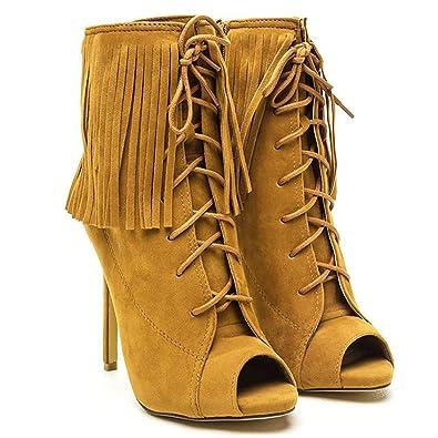 6332cc2aec1 Amazon.com | Shoe Republic LA Pompeo Womens Lace Up Fringe Dress ...