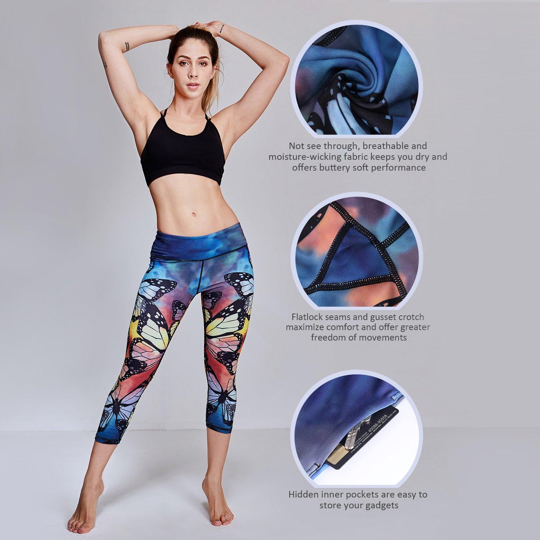 Matymats Women\'s Tummy Control Printed Yoga Capri Leggings Workout Running Active Pants Tights,Butterfly,Medium