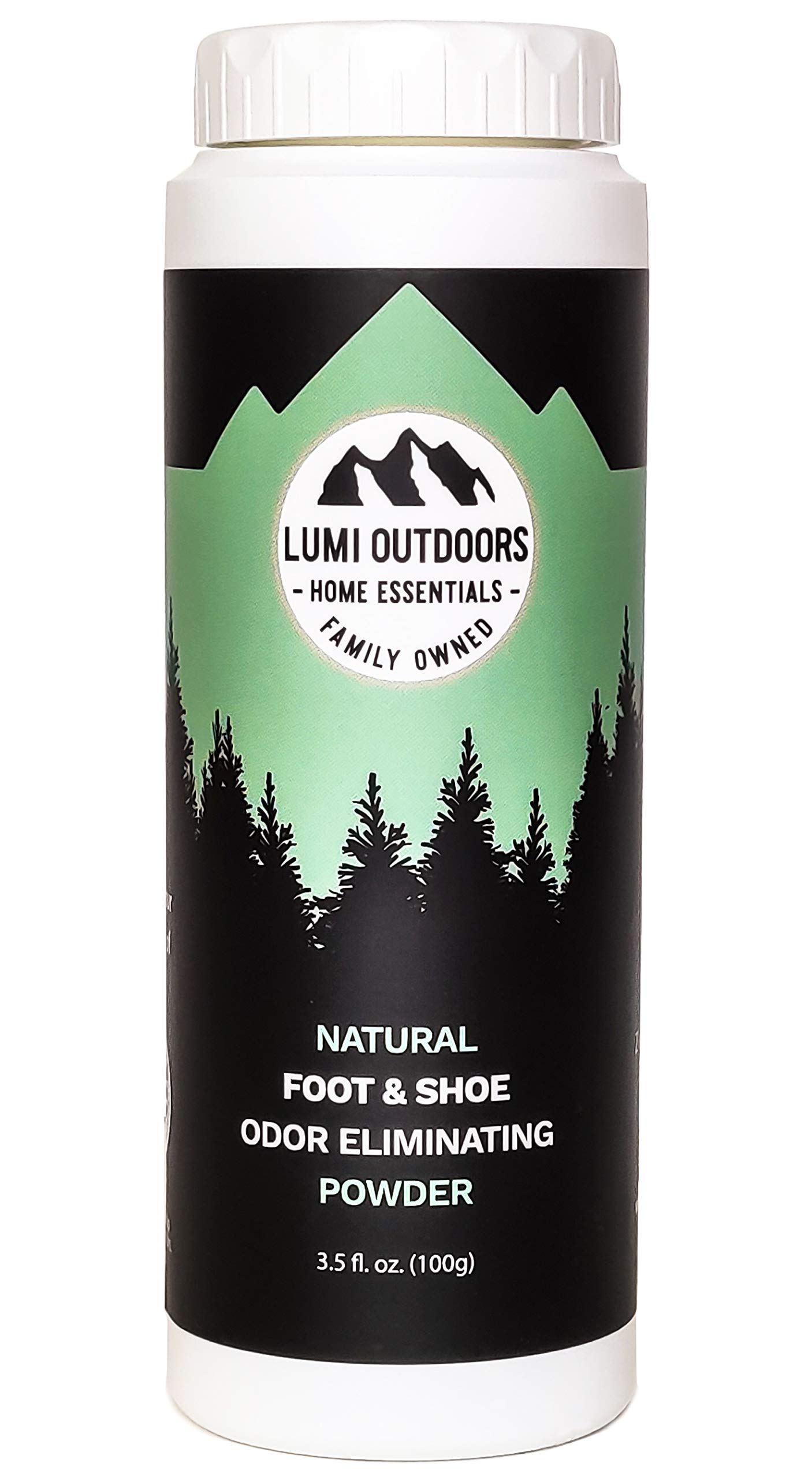 Natural Powder Shoe and Foot Odor Eliminator and Deodorizer - Talc Free Foot Powder - Fresh Lemongrass Scent by Lumi Outdoors