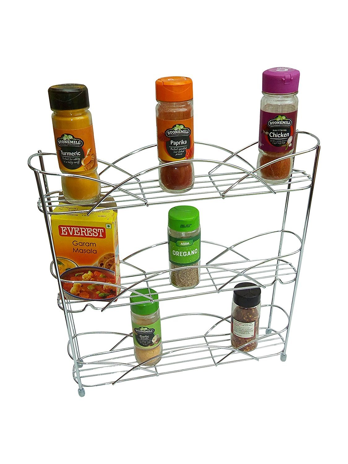 ADEPTNA Heavy duty Free Standing 3 Tier Spice and Herb Rack Non Slip Rubber Feet Universal Size Fits Most Brands