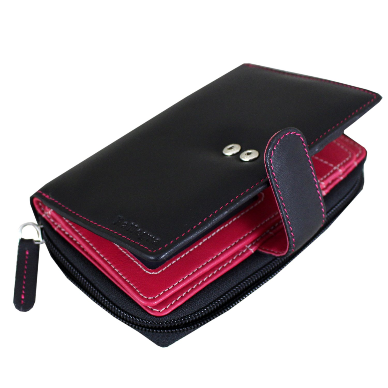 Ladies Luxury High Quality Soft Black (Fuschia Pink Purple Inside) Hand Stitched Real Nappa Leather RFID blocking Small Multi Fall Purse Large Multi 16 Card Wallet with two Large Zip up Coin Compartme CA-1329