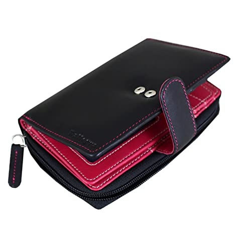 Rallegra CA-1329 - Cartera para mujer Negro Black Outside and Fuschia (Pink/
