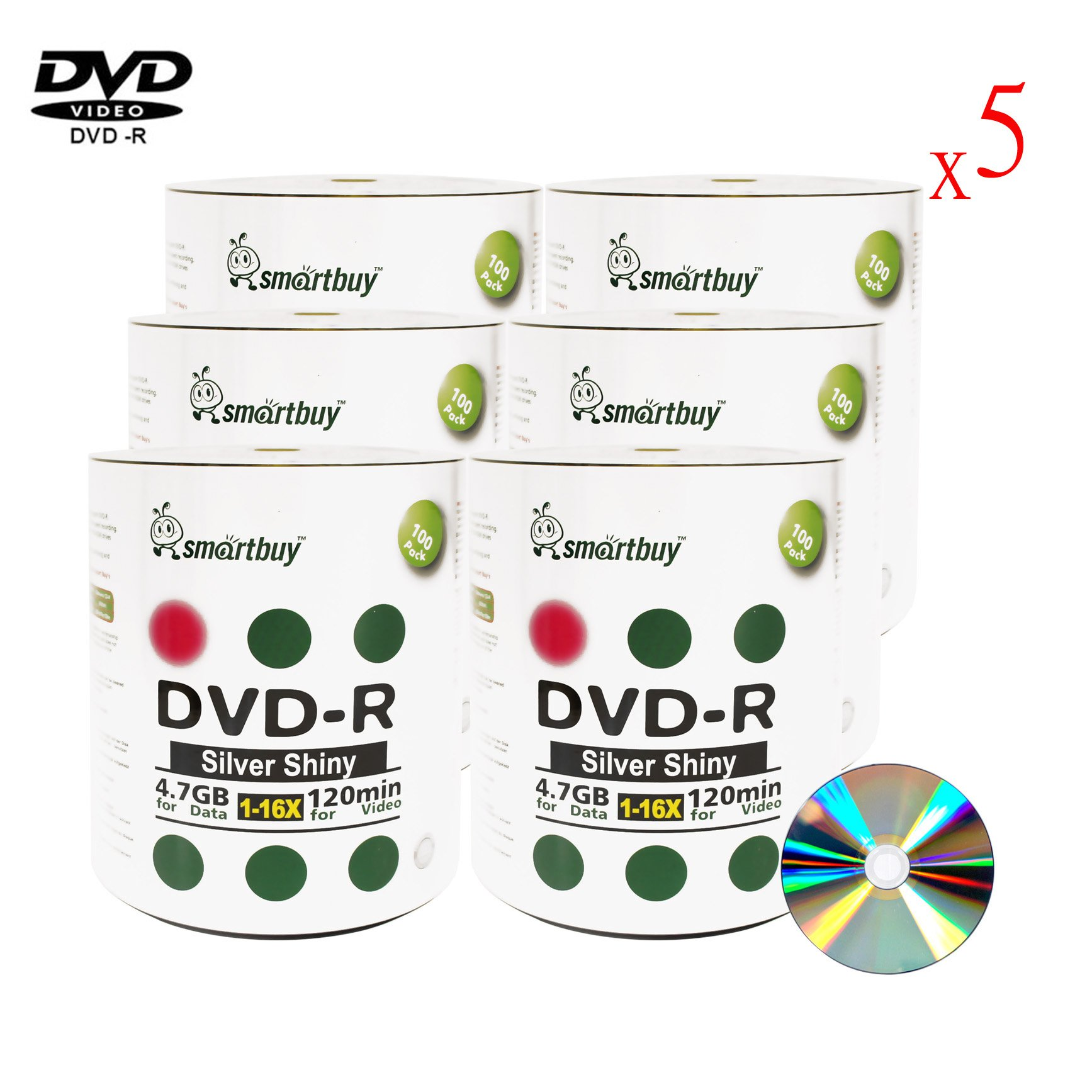 Smartbuy 4.7gb/120min 16x DVD-R Shiny Silver Blank Data Video Recordable Media Disc (3000-Disc)