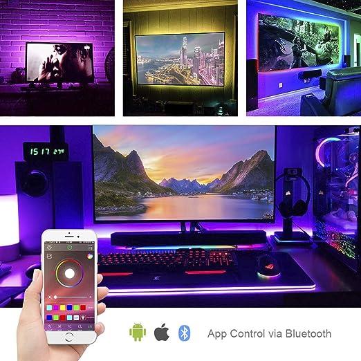 BTF-LIGHTING Control de APLICACIÓN Bluetooth 5050 RGB 5V 6.5FT 60 LED Luz de tira USB flexible Colorido Sincronización con música y temporizador Kit de banda de retroiluminación de TV adhesivo fuerte: Amazon.es: