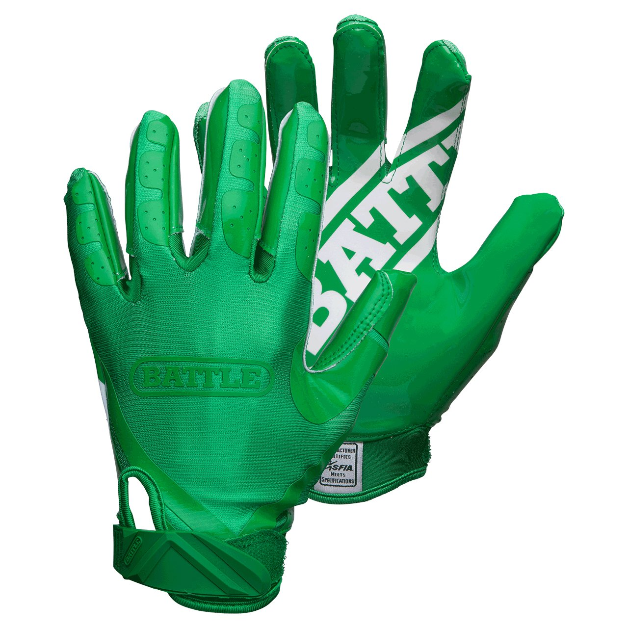 Battle Double Threat Adult Football Gloves, Green/Green, Small