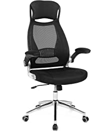 SONGMICS Mesh Office Chair With Backrest, Headrest, Flip Up Armrests, PU  Casters In