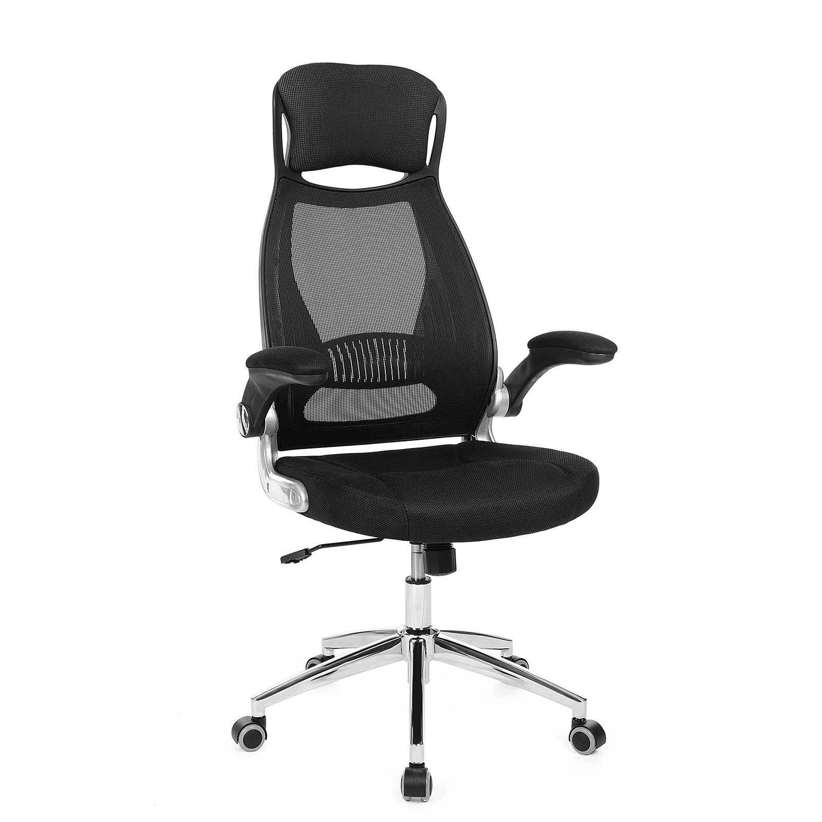 SONGMICS Mesh Office Chair with Backrest, Headrest, Flip up Armrests, PU casters in silence, Swivel Desk Chair for Home Office Black UOBN86B
