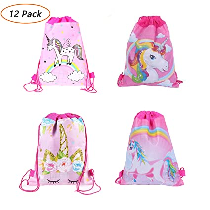 Kids Unicorn Drawstring Bag Non-Woven Fabric Gift Bag Girls Rainbow Backpack !