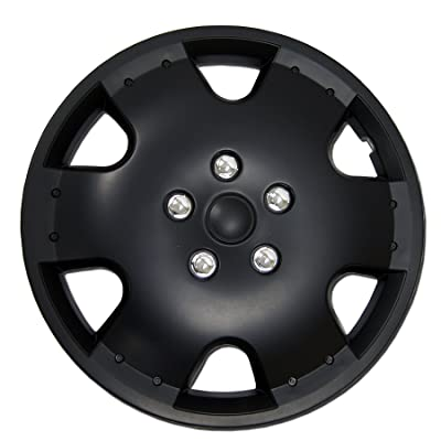 TuningPros WSC-720B16 Hubcaps Wheel Skin Cover 16-Inches Matte Black Set of 4: Automotive