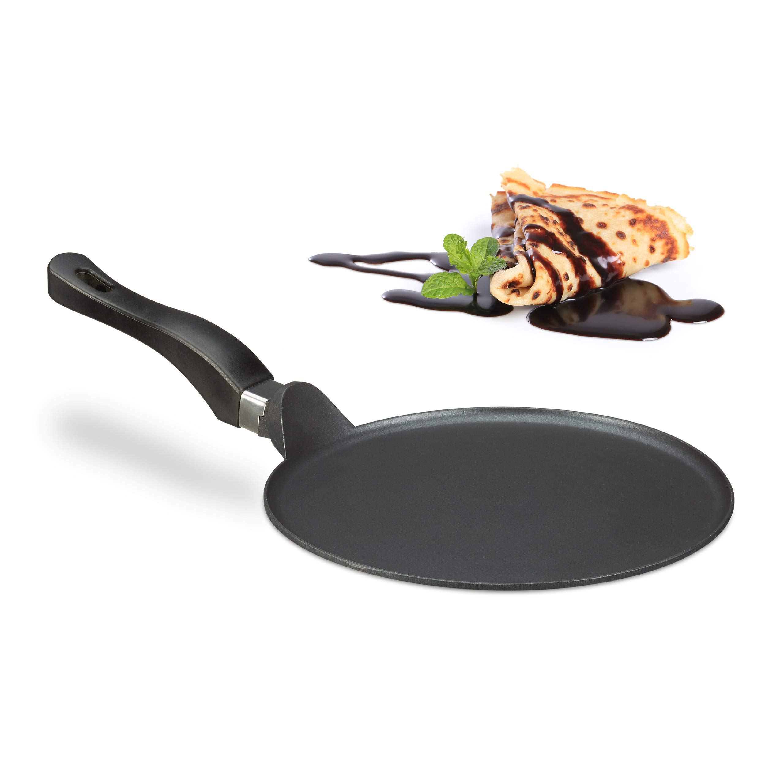Relaxdays Crepe Pan, 25 cm, Non-Stick Coating, Cast Aluminium Pancake Skillet, Easy to Clean, Extra-Flat, Black