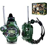 Walkie Talkies for Kids, Aokon Two-Way Long Range Watch Radio Transceiver with Flashlight for Children, Cool Outdoor Toys Gifts For Girls & Boys, 2 Pack