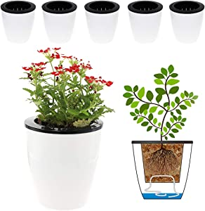 DeElf 6 Pack 4.7 Inches Self Watering Planter Wicking Pots for Plants Indoor Golden Devil's Ivy, African Violet, Ocean Spider Plant, Orchid, White