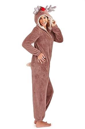 armona ladies reindeer fleece onesie size 12 14