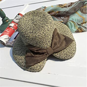 fc98ebfaf9c BTBTAV Female Summer Bow hat UV Protection Travel Sunscreen Folding Sun hat